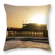Beautiful Vibrant Sunrise Landscape Image Of Worthing Pier In We Throw Pillow
