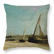 Boats On The Seacoast At Etaples  Throw Pillow