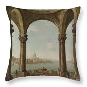 Capriccio With St. Pauls And Old London Bridge Throw Pillow