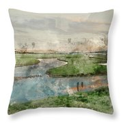 Digital Watercolor Painting Of Beautiful Dawn Landscape Over Eng Throw Pillow