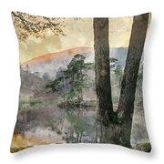 Digital Watercolor Painting Of Beautiful Landscape Image Of Tarn Throw Pillow