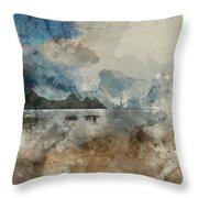 Digital Watercolor Painting Of Beautiful Summer Sunrise Landscap Throw Pillow