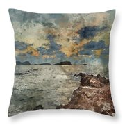Digital Watercolor Painting Of Sunrise Over Rocky Coastline On M Throw Pillow