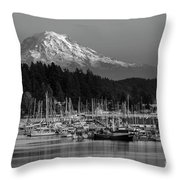 Gig Harbor Marina With Mount Rainier In The Background Throw Pillow