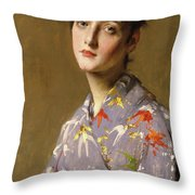 Girl In A Japanese Costume Throw Pillow