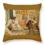 Jos And Lucie Hessel In The Small Salon  Rue De Rivoli  Throw Pillow
