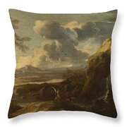 Landscape With Tobias And The Angel  Throw Pillow