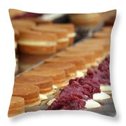 Making Red Bean Cakes Throw Pillow