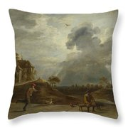 Peasants At Archery  Throw Pillow