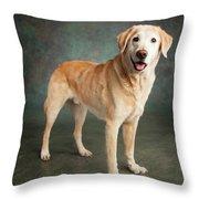 Portrait Of A Labrador Mixed Dog Throw Pillow