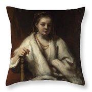 Portrait Of Hendrickje Stoffels  Throw Pillow