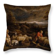 Shepherds And Sheep  Throw Pillow