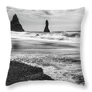 The Dramatic Black Sand Beach Of Reynisfjara. Throw Pillow