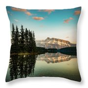 Two Jack Lake And Mount Rundle Throw Pillow