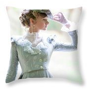Victorian Woman In The Garden Throw Pillow