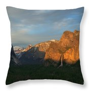 View Of Yosemite Valley From Tunnel View Point At Sunset Throw Pillow