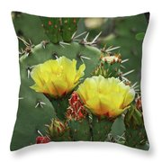Yellow Prickly Pear Flowers Throw Pillow