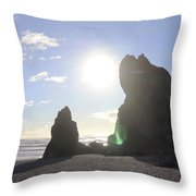 Ruby Beach Sunshine Throw Pillow