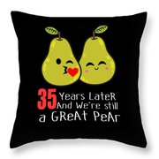 35th Wedding Anniversary Funny Pear Couple Gift Throw Pillow