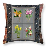 Orchids Antique Quadro Weathered Plank Rusty Metal Throw Pillow