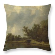 A River Landscape With Fishermen  Throw Pillow