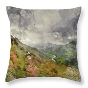 Digital Watercolor Painting Of Landscape Image Of View From Prec Throw Pillow