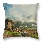 Digital Watercolor Painting Of Stunning Autumn Sunset Landscape  Throw Pillow