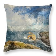 Digital Watercolor Painting Of Stunning Sunrise Landscape Image  Throw Pillow