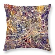 Frankfurt Germany City Map Throw Pillow