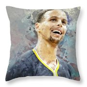 Portrait Of Stephen Curry Throw Pillow