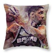Portrait Of Tim Duncan Throw Pillow