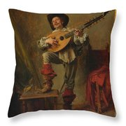Soldier Playing The Theorbo  Throw Pillow