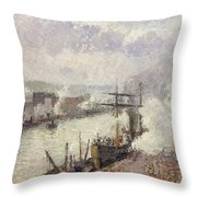 Steamboats In The Port Of Rouen  Throw Pillow