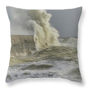 Stunning Dangerous High Waves Crashing Over Harbor Wall During W Throw Pillow