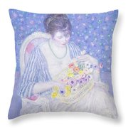 The Basket Of Flowers Throw Pillow