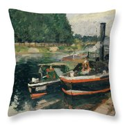 Barges At Pontoise  Throw Pillow