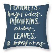 Flannels Hayrides And Pumpkins Fall Tshirt Throw Pillow