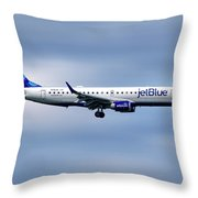 Jetblue Airways Embraer Erj-190ar Throw Pillow
