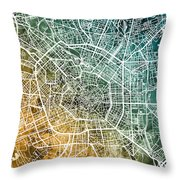 Milan Italy City Map Throw Pillow