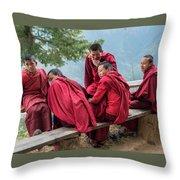 5 Monks On A Break Throw Pillow