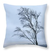 Moody Winter Landscape Image Of Skeletal Trees In Peak District  Throw Pillow