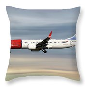 Norwegian Boeing 737 Max 8 Throw Pillow