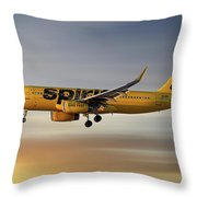 Spirit Airlines Airbus A320-232 Throw Pillow