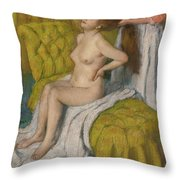 Woman Having Her Hair Combed  Throw Pillow