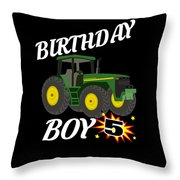5 Years Old Birthday Design Green Tractor Gifdesign  Throw Pillow