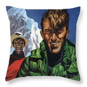 Hillary And Tensing In Front Of Mount Everest Throw Pillow
