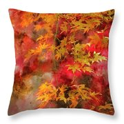 Digital Watercolor Painting Of Beautiful Colorful Vibrant Red An Throw Pillow