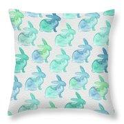 Watercolor Bunnies 1i Throw Pillow