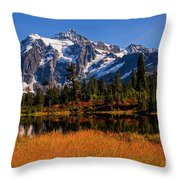 Autumn Colors With Mount Shuksan Throw Pillow