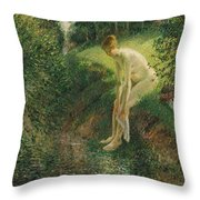 Bather In The Woods  Throw Pillow